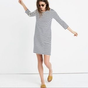 Madewell | Navy Striped Quarter Sleeve Dress XS